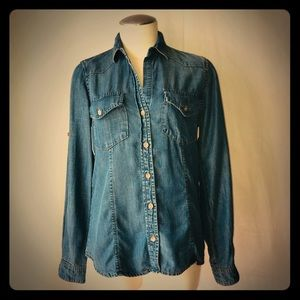 Cloth & Stone Button Down Long Sleeve XS Denim Top